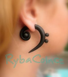 Faux gauge plug / Bass clef . by RybaColnce on Etsy, $18.18 ..... oof these are pretty, too bad they can't be made into real spirals because of the dots