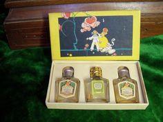 Vtg Antique COLGATE Mini Perfume BOTTLES Box set of 3 Litho Children Art Deco
