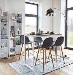 Tavolo alto in metallo bianco cm Igloo High Table And Chairs, High Dining Table, High Top Tables, Dining Table Small Space, Small Space Kitchen, Small Space Living, Small Spaces, Bar Table Design, Dining Room Design