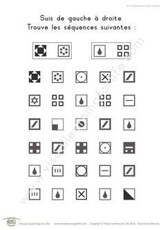 Dans les fiches de travail « Suivi de séquence de carrés de base » l'élève doit trouver les mêmes séquences de carrés que les exemples en haut de la page.
