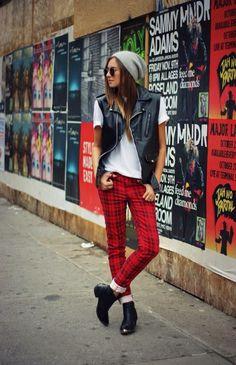plaid-pant-leather-moto-vest