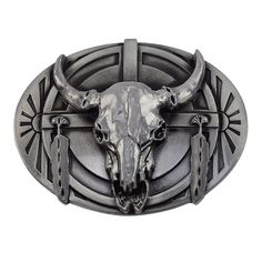 Antique Vintage Western Unique Painted Cow Head Belt Buckle Mens Buckle