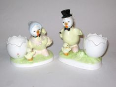 Vintage Yellow 2 Spring Easter Yellow Mr & Mrs Chicken Chick Hen Top Hat Chicks Bone China Egg Cup figurine by BrilbunnySelections on Etsy https://www.etsy.com/listing/158035840/vintage-yellow-2-spring-easter-yellow-mr