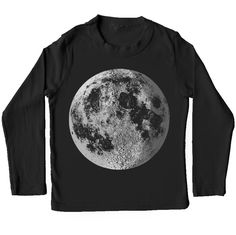 Moon Shirt - almost full moon graphic with crescent, metallic silver foil screenprint, black long sleeve for kids