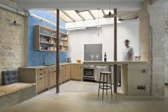 Loft : Likable Retro Style Loft Kitchen in Paris by Maxime Jansens with Breakfast Bar and Wooden Cabinetry and Epic Exposed Wall Decorations also Nice Seat. Retro Style Interior of Loft in Paris by Maxime Jansens Loft Kitchen, Kitchen On A Budget, Rustic Kitchen, Kitchen Interior, Open Kitchen, Design Kitchen, Interior Desing, Interior Architecture, Loft Paris