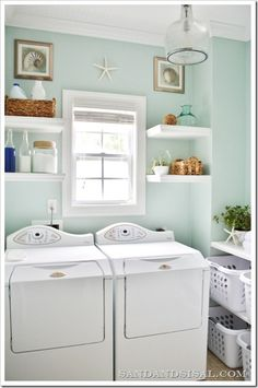 My laundry room needs a window!! Sherwin Williams Rainwashed Blue Green Laundry Room