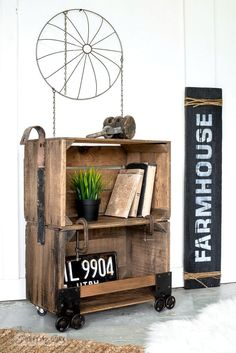 Make this super cool and easy faux industrial cart coffee crate side table with clamps and other rusty junk hardware | funkyjunkinteriors.net #christmas #crates #rustic #furniture #funkyjunk