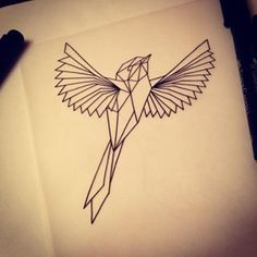 geometric bird tattoo - Google Search