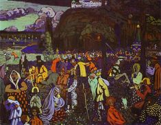 Colorful life, 1907 by Wassily Kandinsky. Expressionism. genre painting. Lenbachhaus, Munich, Germany