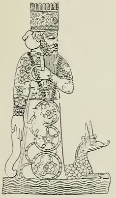 Marduk, chief god of Babylon and head of the later Babylonian pantheon. Found at Babylon. Lapis-lazuli cylinder, with dedicatory inscription to Marduk by Marduk-nadinshum, king of Babylonia (c. 850 b.c), and deposited in the temple E-Sagila at Babylon.