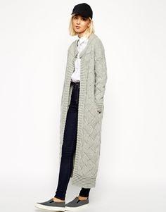 ASOS WHITE – Basket Weave – Lange Strickjacke