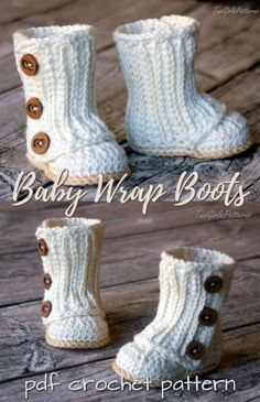 Crochet Baby Wrap Boots Pattern- Ankle High Baby Booties Free Patterns Wonder if I could scale this up.Such sweet Baby Wrap Boots crochet pattern from Two Girls Patterns! I love the sweet buttons! This looks like a great crochet baby booties pattern! Booties Crochet, Crochet Baby Boots, Baby Girl Crochet, Crochet Baby Clothes, Crochet For Kids, Crochet Slippers, Diy Crochet, Crochet Outfits For Babies, Crochet Baby Stuff
