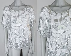 Vintage 80s Top / 1980s White and Silver Sequin Floral Silk Loose Trophy Top S by FloriaVintage on Etsy