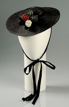 Hat | United States, circa 1937 | Maker: Margie-Pauline Millinery | Materials: straw, synthetic, wood | The Metropolitan Museum of Art, New York