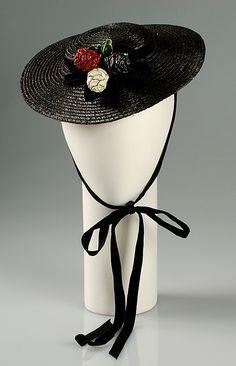Margie-Pauline Millinery vintage black straw hat, ca 1937. #vintage #1930s #fashion #hats