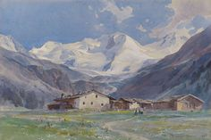 The Ortler seen from Gampenhofe, Sulden    Edward Harrison Compton, 1915 Watercolor 28 x 41 cm