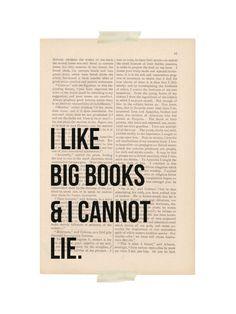 dictionary art print I Like BIG BOOKS and I Cannot LIE funny quote book decor. $9.00, via Etsy.