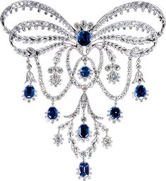 "Chaumet: A sapphire-and-diamond stomacher, c. 1906. (""stomacher?"")"