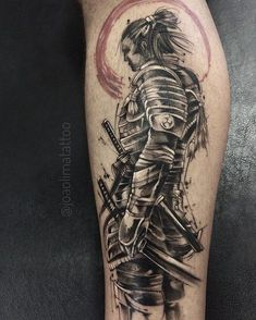 Samurai Tattoo - Blackwork and Trash Polka - by João Lima / Tatuagem de Samurai Red Tattoos, Dope Tattoos, Skull Tattoos, Body Art Tattoos, Tribal Tattoos, Tattoos For Guys, Samurai Warrior Tattoo, Warrior Tattoos, Japanese Tattoo Art