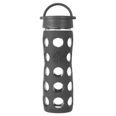 16 oz Glass Water Bottle with Classic Cap and Silicone Sleeve, Carbon