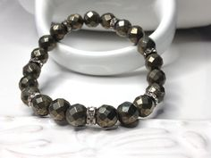 Multi Faceted Pyrite Fools Gold Beaded Stretch by LoveandLulu