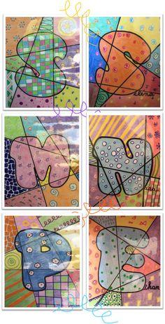 Monster Activities, Art Activities For Kids, Art For Kids, Kindergarten Art Lessons, Art Education Lessons, Back To School Art, Art School, Line Art Projects, Name Art