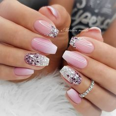 New nail art trends bring you unlimited nail design inspiration - Page 115 of 117 - Inspiration Diary Elegant Nails, Stylish Nails, Trendy Nails, Square Nail Designs, Ombre Nail Designs, Bright Nail Designs, Blue Ombre Nails, Bright Pink Nails With Glitter, Nagellack Design