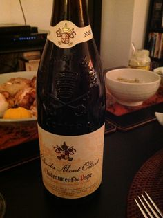 CLOS de MONT-OLIVET - Sabon estate, Rhone, Chateauneuf du pape AOC, 2008. Light red that goes with roast chicken and other simple foods like truffle flavoured mashed potatoes