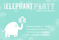 White Elephant Holiday Party Invitation by InviteShopcom cheap