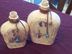 Repurposed Crown Royal Bottles Shabby Chic Cowgirl Cottage Candle Holders or Vases for sale on etsy.com