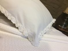 Cotton percale pillowcase with crocheted edge by South Cape Crafts White Linens, Cotton Crochet, Bed Pillows, Cape, Pillow Cases, Crafts, White Bed Sheets, Pillows, Mantle