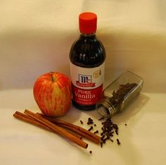 MAKE YOUR HOUSE SMELL LIKE FALL !!Simply cut an apple (any variety) into quarters. Put the apple pieces in a small pan. Fill the pan with water, then add some cinnamon sticks and whole cloves. Sprinkle in a little ground cinnamon if you want. Now here's the secret: Add a teaspoon or more of vanilla extract. Simmer on the stovetop, being careful not to let the water boil away.