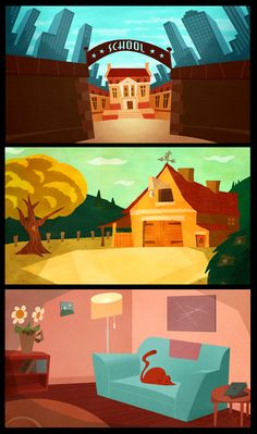 Backgrounds by XAV-Drawordie on deviantART Cartoon Background, Animation Background, Art Background, Environment Concept Art, Environment Design, Landscape Illustration, Illustration Sketches, Bg Design, Modelos 3d