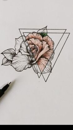 Idées tatouage Triangle, Sketching, Pencil Drawings, Tattoos, Sketch, Sketches