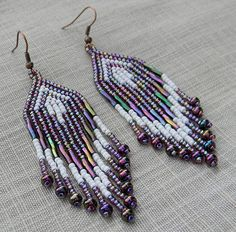 Purple and White Long Fringe Earrings  beaded by Anabel27shop, $16.00