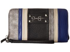 Jessica Simpson - Ryanne Single Zip Around Wristlet (Black Multi) Wristlet Handbags