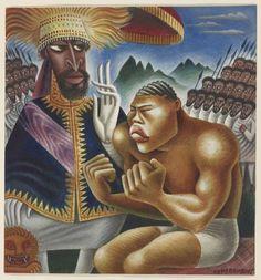 Haile Selassie and Joe Louis, illustration by Miguel Covarrubias, 1935