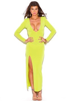 Citrone Light Green Deep V Neck Open Back Evening Maxi Dress Club Party Fashion Fast Fashion, Clubwear, Wrap Dress, Jumpsuit, Deep, Long Sleeve, Party, Sleeves, Shopping
