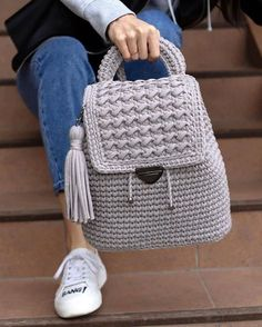 New Designs for FREE crochet bag pattern images Easy And Stylish! - Page 61 of 61 Crochet Backpack Pattern, Free Crochet Bag, Crochet Purse Patterns, Crochet Tote, Crochet Handbags, Crochet Purses, Crochet Stitches, Crotchet Bags, Knitted Bags