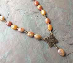 Rust Jasper Stone Necklace / Antique Brass Filigree / by FOLIOSA