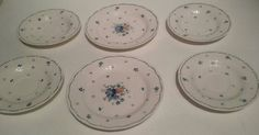 NIKKO Japan French Country Blue & White Floral Plates 1980s