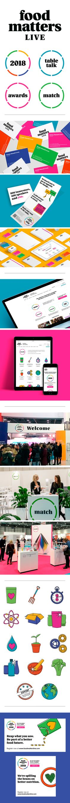 A clear brand architecture for Food Matters Live, providing structure and meaning for each of it's platforms, with a vibrant new brand identity and visual language. This extended to all touch points including digital, web and campaign communications. Brand Identity, Branding, Brand Architecture, Digital Web, Design Agency, Platforms, Meant To Be, Campaign, Language