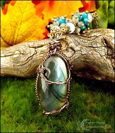 ✧Collection Méliades✧:Collier wire wrapping Labradorite, Aigue-marine, Chrysocolle, cuivre *Murmures des naïades* : Collier par atelier-bijoux-legendaires