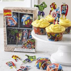 Marvel comics cupcake decorating kit $12.95 (liners and toppers for 24 cupcakes)
