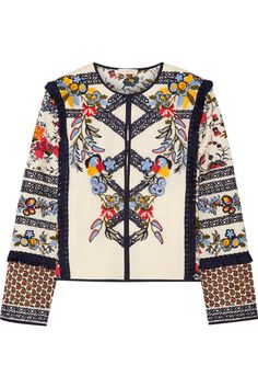 Tory Burch - Amber Embroidered Printed Canvas Jacket - Ivory