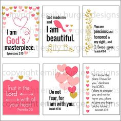 God's little princess: Scripture and encouragement for your mirror (Set 6). Includes suction hook. Start and end your day right.