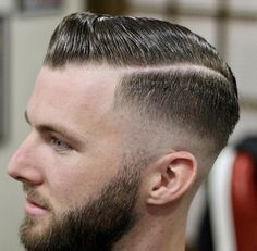 Pomade Hairstyle Men, Hair Pomade, Slick Hairstyles, Classic Hairstyles, Comb Over Fade, Hair Barber, Slicked Back Hair, Haircuts For Men, Cut And Style