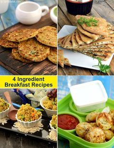 Four ingredient breakfast recipes page 1 of Breakfast Snacks, Vegetarian Breakfast, Vegetarian Recipes Easy, Curry Recipes, Healthy Breakfast Recipes, Cooking Recipes, Healthy Recipes, Vegetarian Diets, Healthy Breakfasts