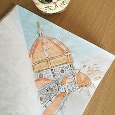 Time for #florence - #firenze #santamariadelfiore #cathedral #drawoftheday #illustration #watercolor #watercolorillustration #ink #inkillustration #italiantrip #bestcity #italy #italygram #illustrationart #illustrationartists #illustrationproject