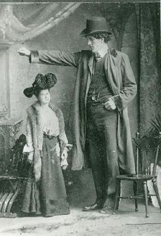 Edouard Beaupré, 7'9'', and sister Josephine Lespérance, 1900.  He was still growing when he died of tuberculosis at the age of 23.